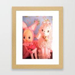 bunny and pink poodle Framed Art Print