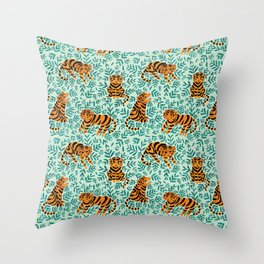 Tigers and Leaves Print Throw Pillow