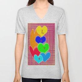 coloured love hearts Unisex V-Neck