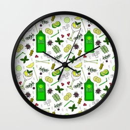 Colourful Gin Drinker Cocktail Bar Pattern Wall Clock