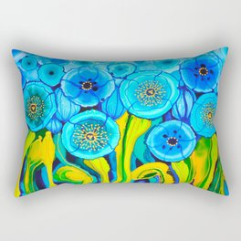 Field of Blue Poppies with Top and Bottom Border Belize Rectangular Pillow