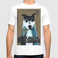 Blue Dog White MEDIUM Mens Fitted Tee