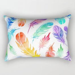NEON RAINBOW TROPICAL FEATHERS Rectangular Pillow
