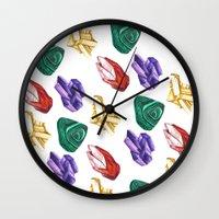 minerals Wall Clocks featuring Minerals by kristinesarleyart