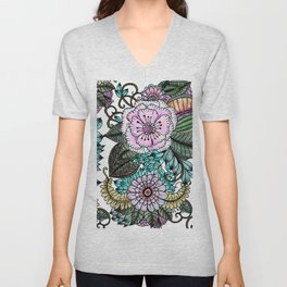 Hand painted pink teal lavender green watercolor floral Unisex V-Neck