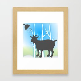 Funny Goat Shower Curtains Framed Art Print
