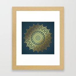 Blue Golden Mandala Framed Art Print