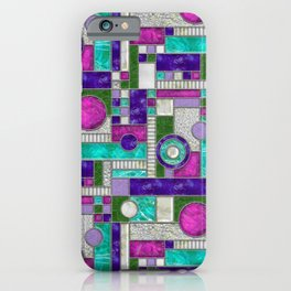Stained Glass Window - Color Blocking - Pink Purple Blue iPhone Case