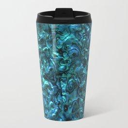Abalone Shell | Paua Shell | Cyan Blue Tint Metal Travel Mug