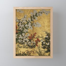 White Red Chrysanthemums Floral Japanese Gold Screen Framed Mini Art Print