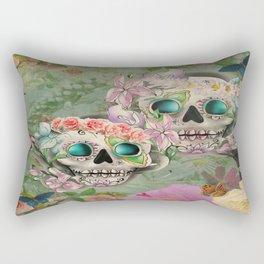 Victorian Floral Sugar Skulls Rectangular Pillow