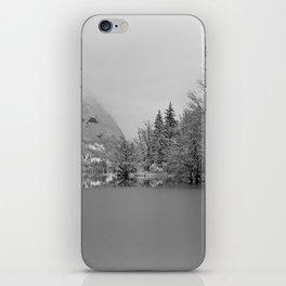 Partly Frozen Lake Bohinj Mono iPhone Skin