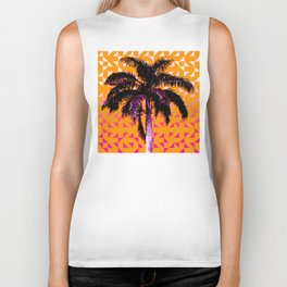 Palm Tree (Orange Pink) Biker Tank