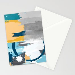 Abstract Grey & Blue Stationery Cards