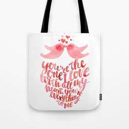 Valentine's day art kissing birds Tote Bag