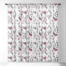 Love, fishnet, patchwork Sheer Curtain