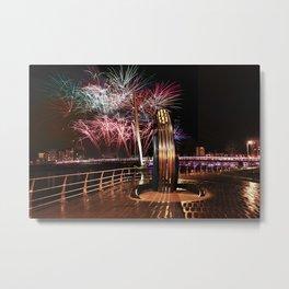 Fireworks at Swansea SA1 Metal Print