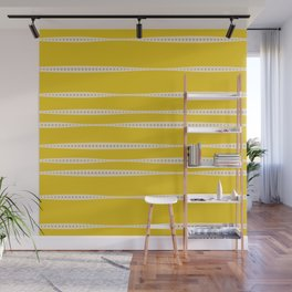 Abstract wavy stripes in mustard yellow, grey, and off-white Wall Mural