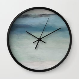 Abstract Painting, Light Blue, Teal, Sage Green Prints Modern Wall Art, Affordable Stylish Wall Clock
