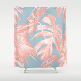 Island Love Coral Pink on Pale Blue Shower Curtain
