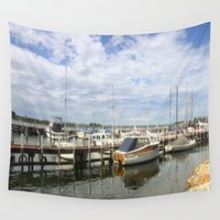 boats Wall Tapestries featuring Moored Boats by Chris' Landscape Images & Designs