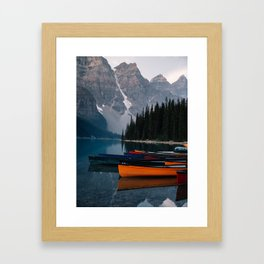Canoes & Mountains Framed Art Print