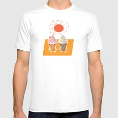 ice cream and sun bath White MEDIUM Mens Fitted Tee