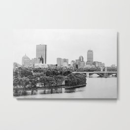 Black & White Boston Skyline III Metal Print