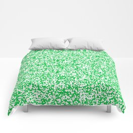 Tiny Spots - White and Dark Pastel Green Comforters