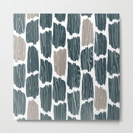Rustic Wood Grain Abstract Pattern, Farmhouse, Cabin Decor, Teal and Grey Metal Print