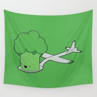 airplane Wall Tapestries featuring Here comes the Airplane! by Robert Broersma