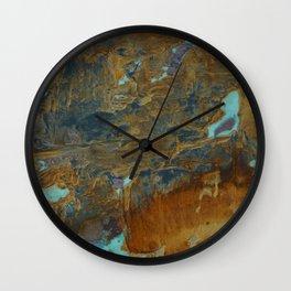 Blue Lagoons in Rusty World Wall Clock
