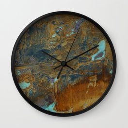 Blue Lagoons in Rusty World Wall Clock