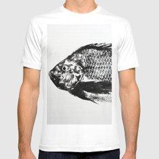 gyotaku - koi fish Mens Fitted Tee MEDIUM White