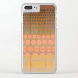 Retro Cascading Dots and Geometric Ombre Clear iPhone Case