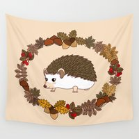 kawaii Wall Tapestries featuring Kawaii hedgehog by Pendientera