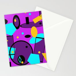 Retro abstract print purple violet Stationery Cards