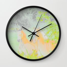 Horse Racing Riding Farm Field Countryside Abstract Wall Clock