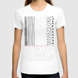 Black white pink polka dots stripes pattern T-shirt