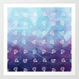 Simple Hand Drawn Diamond Pattern with Watercolor Background Art Print