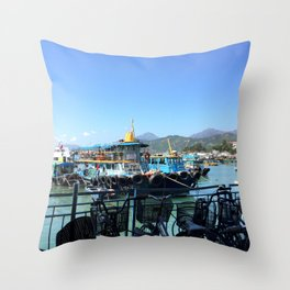 Boats and bicycles Throw Pillow