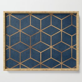 Dark Blue and Gold - Geometric Textured Cube Design Serving Tray