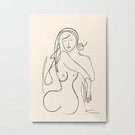 Abstract Minimalist Nude Woman II Metal Print