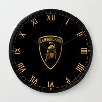 lamborghini Wall Clocks featuring Lamborghini black by JT Digital Art