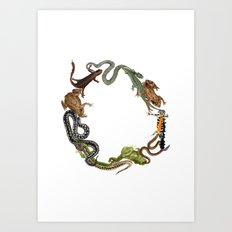 Reptile Wreath Art Print