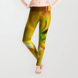 closeup yellow flower with green pollen background Leggings