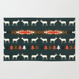 Ethnic deer pattern with Christmas trees Rug