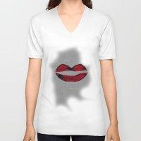 lipstick V-neck T-shirts featuring LipStick by Sawaf99