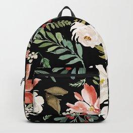 Christmas Poinsettias & White Roses Pattern Backpack