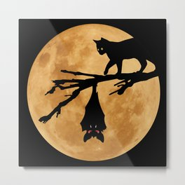 Halloween - Moon (The Cat and the Bat) Metal Print